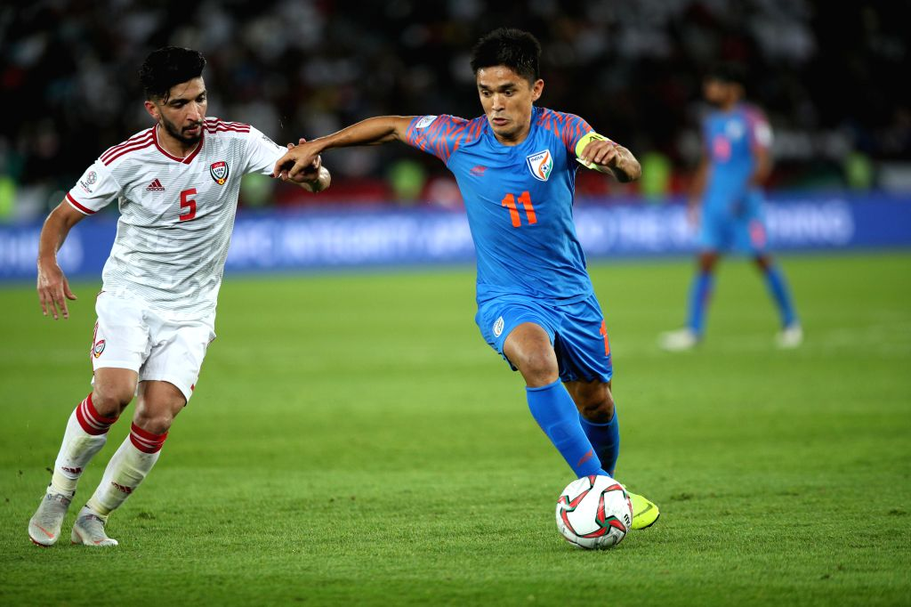 Indian football captain Sunil Chhetri during AFC Asian Cup 2019 match between India and UAE. Talismanic football striker Sunil Chhetri has been an inspiration for millions of youngsters in India who want to make a career in football. Chhetri, who rec - Sunil Chhetri and Mary Kom