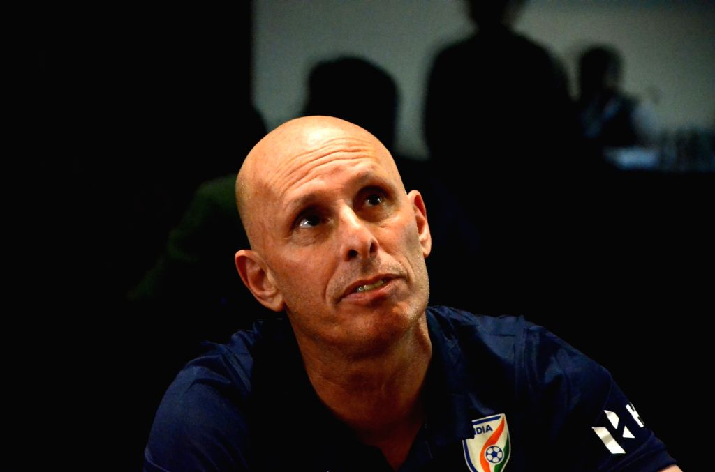 Indian football team coach Stephen Constantine during a press conference in Mumbai on May 19, 2018.