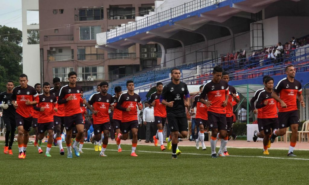 Indian Football Team seen at the Practice Session for their Match against Pakistan, at Bangalore Football Stadium, in Bangalore Aug 16, 2014.