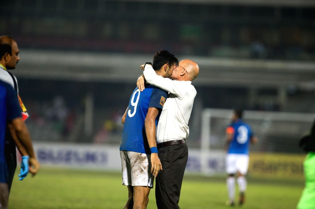 Indian footballer Manvir Singh along with team head coach Stephen Constantine celebrates after scoring a goal during SAFF Cup semi final match between India and Pakistan at the Bangabandhu ... - Manvir Singh