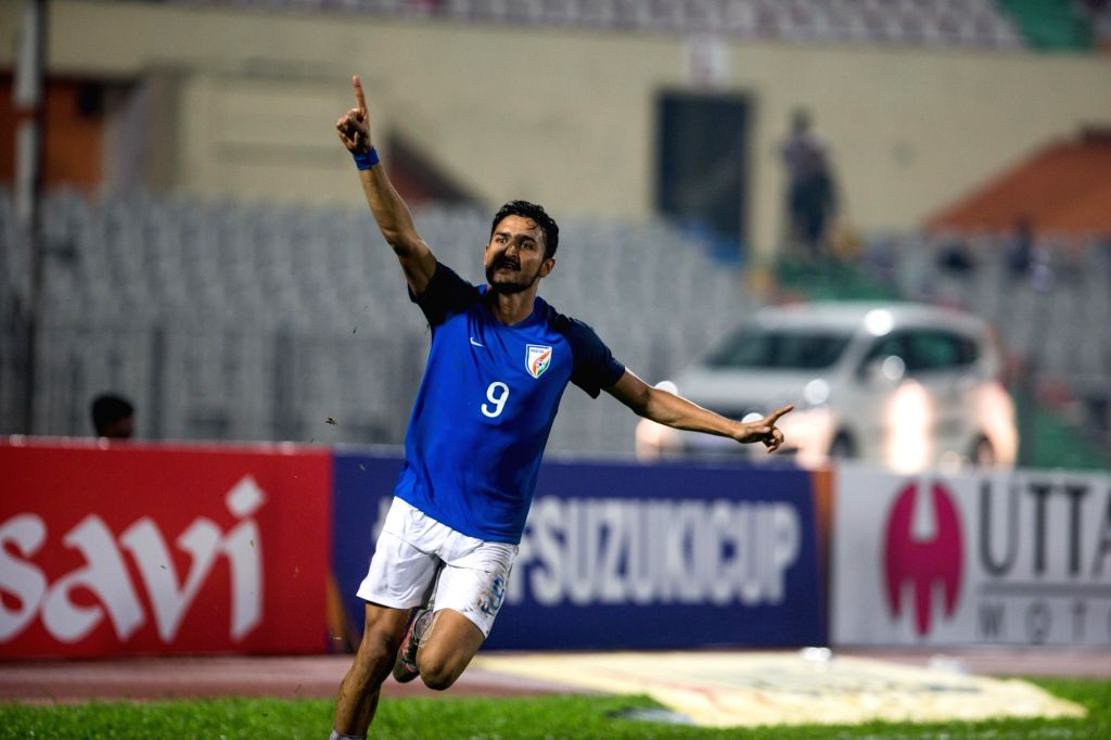 Indian footballer Manvir Singh celebrates after scoring a goal during SAFF Cup semi final match between India and Pakistan at the Bangabandhu Stadium in Dhaka, Bangladesh on Sept 12, 2018. ... - Manvir Singh