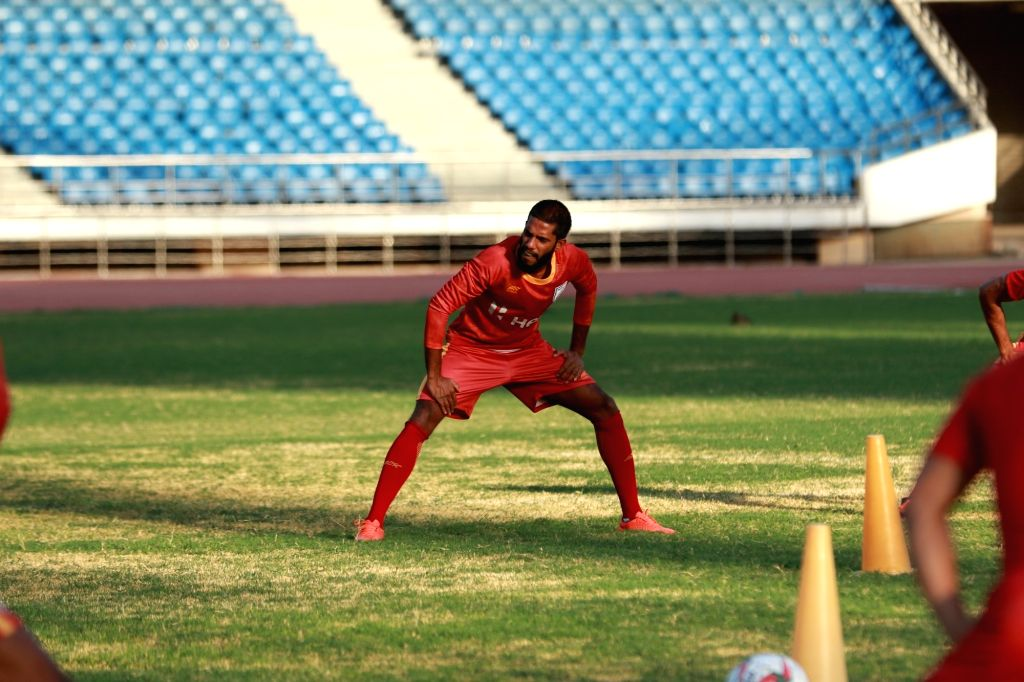 Indian footballer Michael Soosairaj during a practice session.