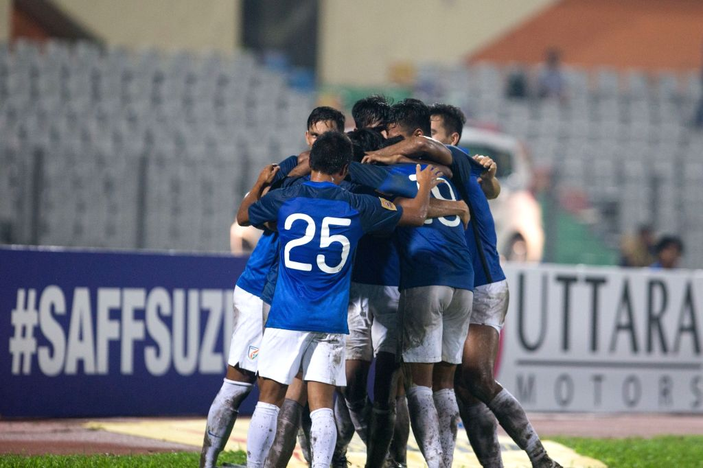 Indian footballers celebrate after scoring a goal during SAFF Cup semi final match between India and Pakistan at the Bangabandhu Stadium in Dhaka, Bangladesh on Sept 12, 2018. India beat ...