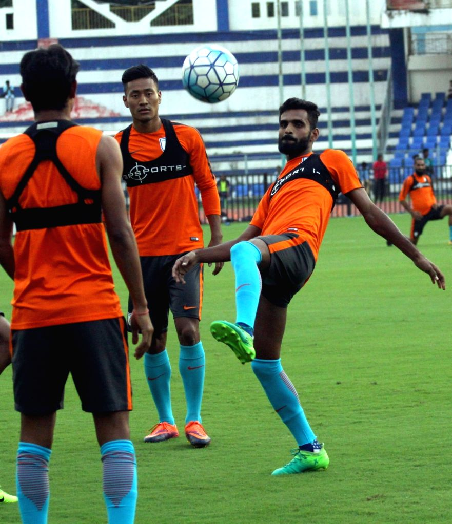 Indian footballers in action during a practice session ahead of 2019 AFC Asian Cup qualifier match against Macau at Kanteerava Stadium in Bengaluru, on Oct 10, 2017.