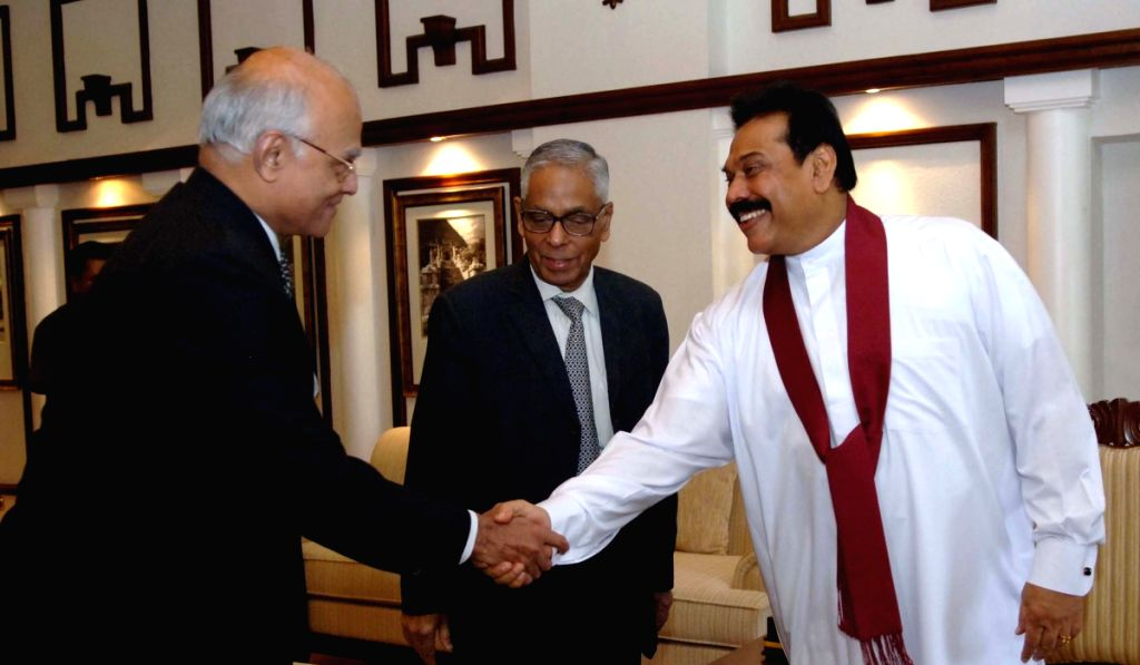 Indian Foreign Secretary Shivshankar Menon and National Security Advisor M.K.Narayanan meet Sri Lankan President Mahinda Rajapaksa in Colombo Friday.