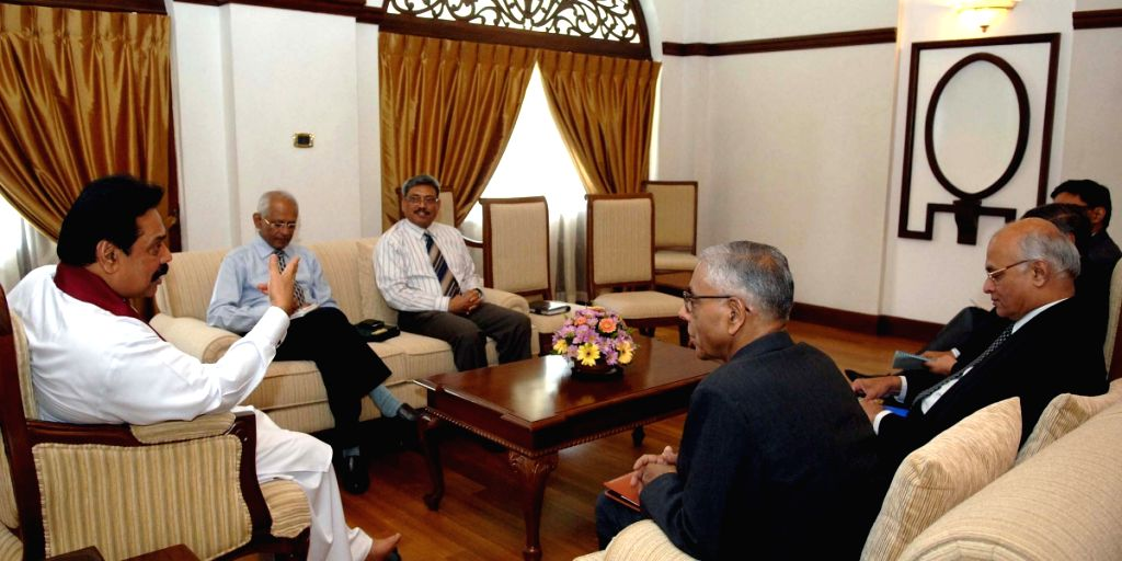 Indian Foreign Secretary Shivshankar Menon and National Security Advisor M.K.Narayanan in talks with Sri Lankan President Mahinda Rajpaksa Colombo Friday.