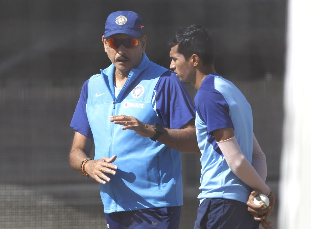 Indian Head Coach Ravi Shastri and Navdeep Saini during a practice session ahead of the 2nd ODI against New Zealand at Auckland in New Zealand on Feb 7, 2020.