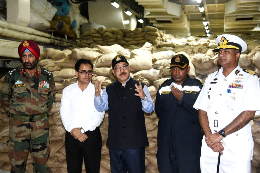Indian High Commissioner Harsh Vardhan Shringla at INS Gharial, an Indian Navy ship during its arrival t Chittagong port with 700 tonnes of aid for Rohingya refugees in Bangladesh on Sept ...