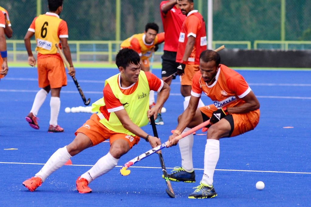 Indian hockey players during a practice session ahead of Asian Games 2018, in Bengaluru on Aug 3, 2018.