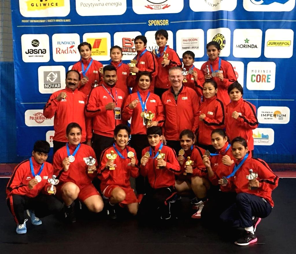 Indian Junior Boxers after bagging 13 medals including 6 gold,6 silver and 6 bronze at the 13th International Silesian Boxing Championships for Women in Poland, on Sept 15, 2018.
