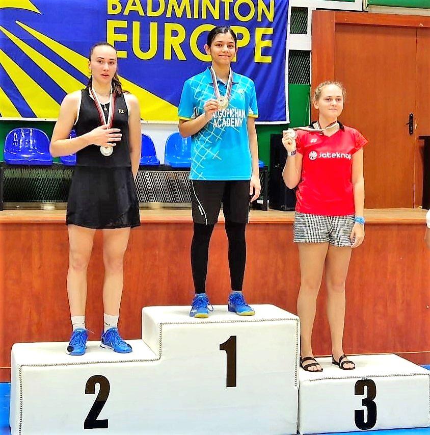 Indian Junior shuttler Samiya Imad Faruqui won gold in Women's Singles at the Bulgarian Junior International Championships.