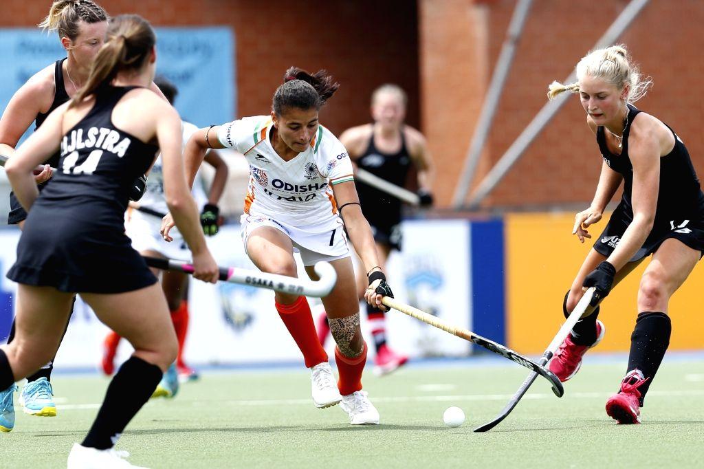 Indian Junior Women's Hockey Team celebrate Sharmila Devi's goal against New Zealand.