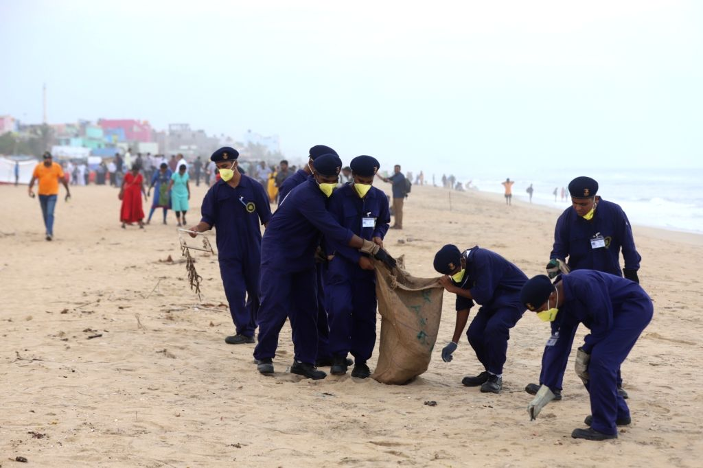 Indian Maritime Foundation personnel participate in a beach clean-up drive organised jointly by U.S. Consulate General in Chennai and the Indian Maritime Foundation on the occasion of World ...