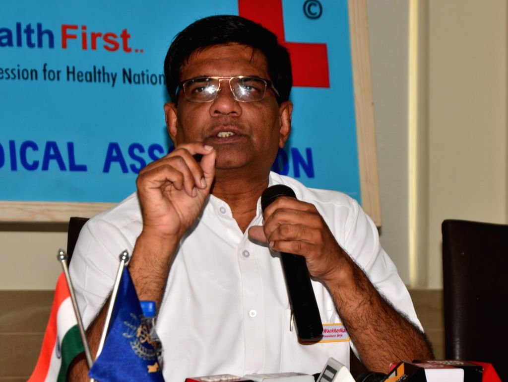 Indian Medical Association (IMA) National President Ravi Wankhedkar addresses a press conference in New Delhi on April 3, 2018.
