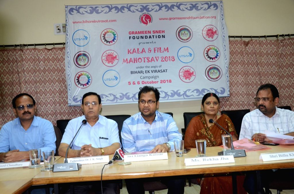 """Indian Medical Association Vice President J.K Singh, Grameen Sneh Foundation Secretary Ganga Kumar, singer Rekha Jha and other dignitaries during a press conference ahead of """"Kala and ... - Rekha and K Singh"""