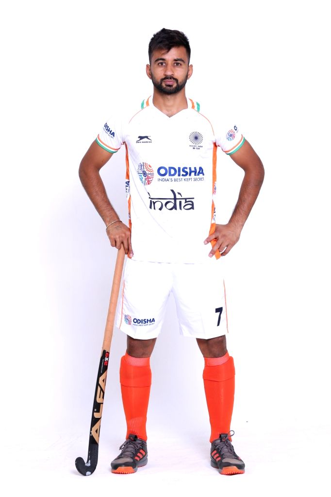 Indian Men's hockey team captain Manpreet Singh in the new White uniform. Hockey Fans can watch the Manpreet Singh-led Indian Men's team donning the new uniform at the forthcoming FIH Men's Series Finals Bhubaneswar Odisha 2019 starting 6 June 2019 w - Manpreet Singh