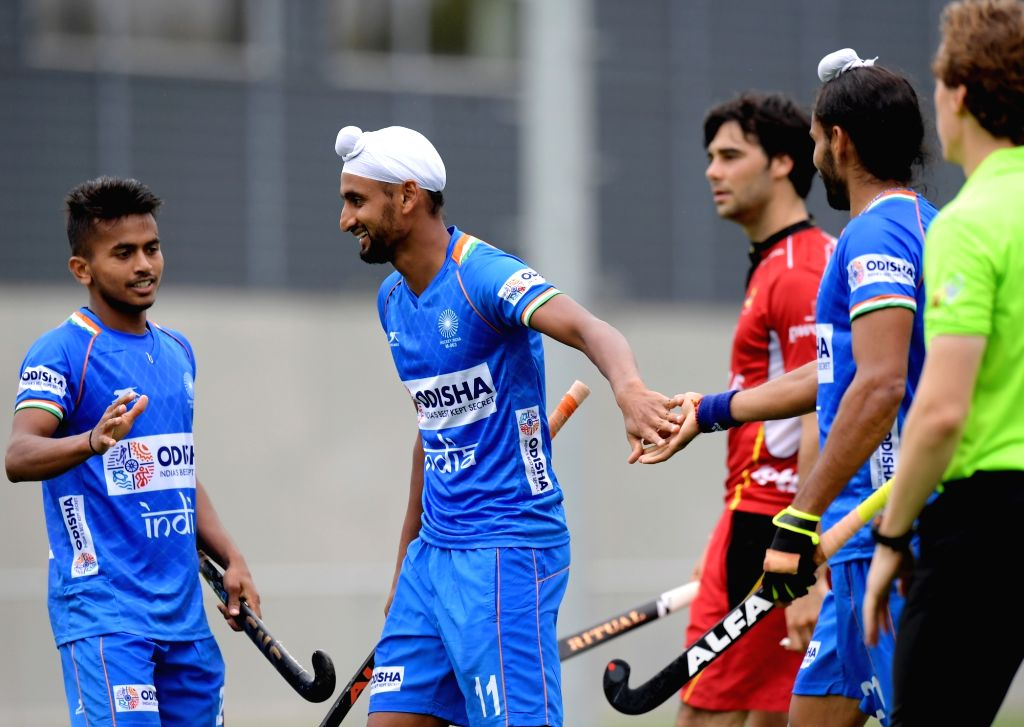 Indian Men's Hockey team players celebrate a goal during the opening game of the three-match series between India and Begium, in Antwerp on Sep 26, 2019. Indian Men's Hockey Team beat ...