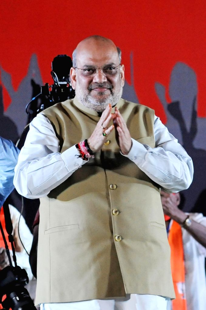 Indian Minister of Home Affairs Amit Shah at a public meeting during the election campaign for the State Assembly election at Salt Lake in Kolkata on 13 April , 2021. - Affairs Amit Shah