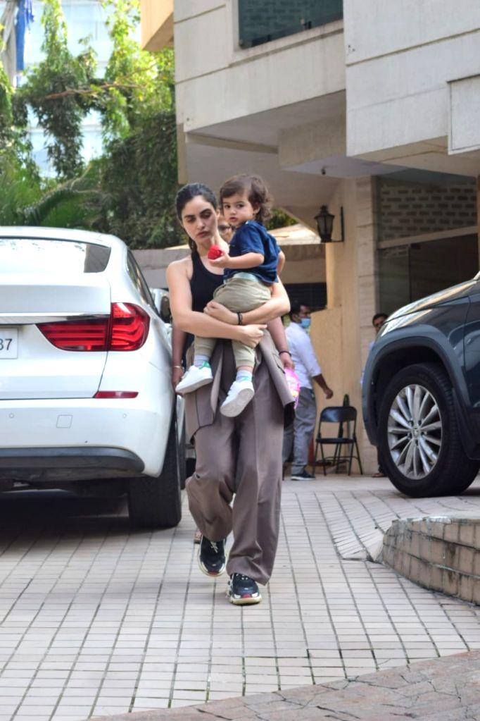 Indian model Gabriella Demetriades with her son spotted at Bandra on  25 jan 2021. - Gabriella Demetriades