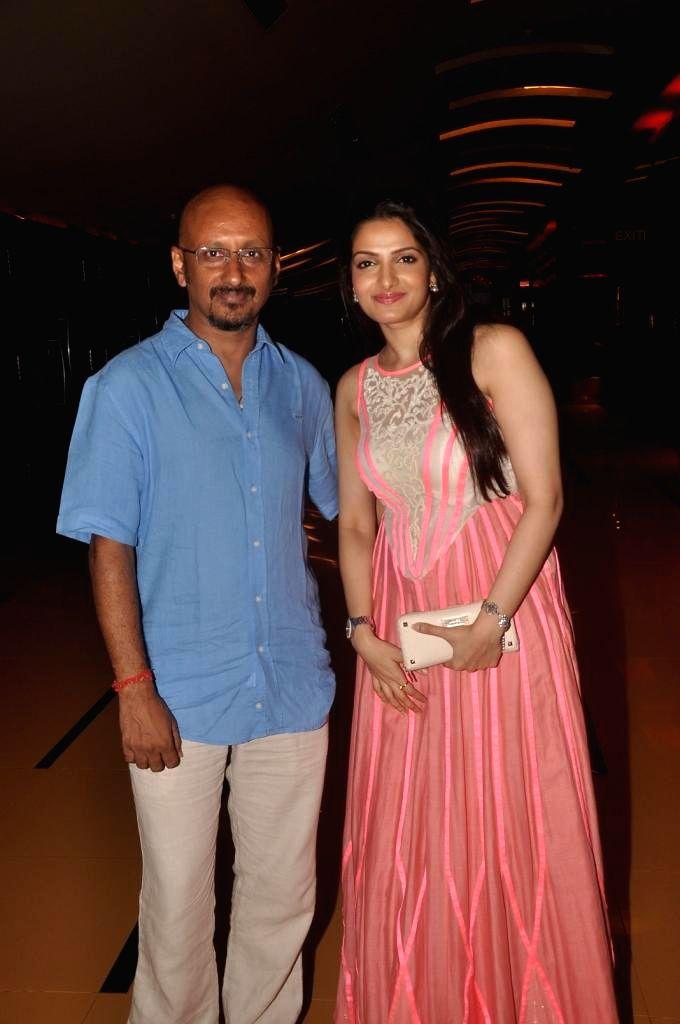 Indian music director Shantanu Moitra and actress Tanushree Chakraborty during special screening of Bengali film Buno Haansh in Mumbai. - Tanushree Chakraborty