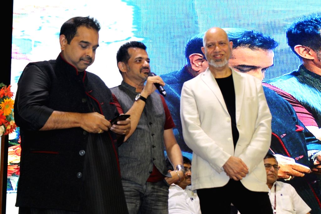 """Indian musical trio Shankar–Ehsaan–Loy at the launch of upcoming film """"Halkaa"""" at NDMC Convention Center in New Delhi on Aug 6, 2018."""