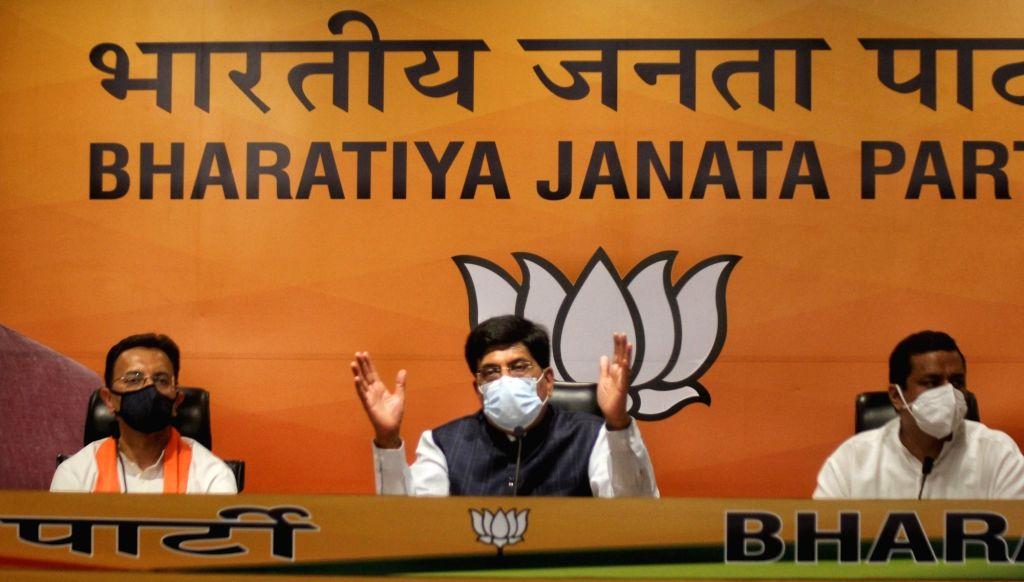 Indian National Congress er Jitin Prasad joined Bharatiya Janta Party in the presence of BJP Union minister Piyush Goyal at BJP headquarters in New Delhi on Wednesday June 09, 2021. - Piyush Goyal