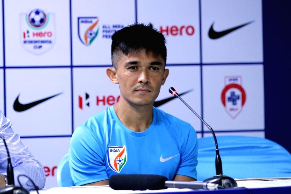 Indian national football team captain Sunil Chhetri addresses a press conference in Mumbai on June 2, 2018. - Sunil Chhetri