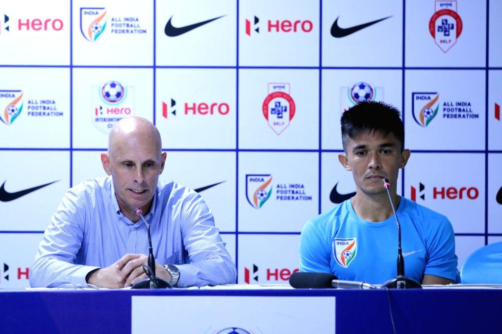 Indian national football team coach Stephen Constantine and captain Sunil Chhetri addresses a press conference in Mumbai on June 2, 2018. - Sunil Chhetri