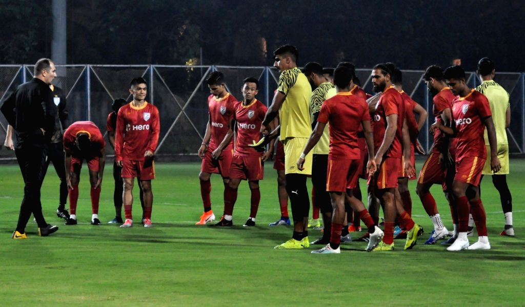 Indian national football team during practice session ahead of their FIFA World Cup Qatar 2022 Qualifier match agianst Bangladesh in Kolkata, on Oct 13, 2019.