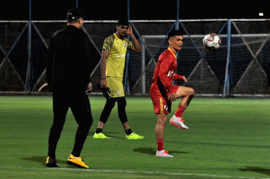 Indian national football team skipper Sunil Chettri during practice session ahead of the FIFA World Cup Qatar 2022 Qualifier match agianst Bangladesh in Kolkata, on Oct 13, 2019.