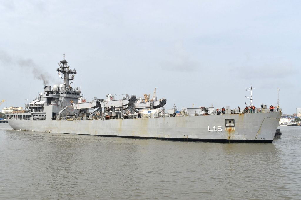 Indian Naval Ship Shardul with filled Oxygen Cylinders and Oxygen concentrators arriving at Mumbai port on Thursday June 24, 2021.