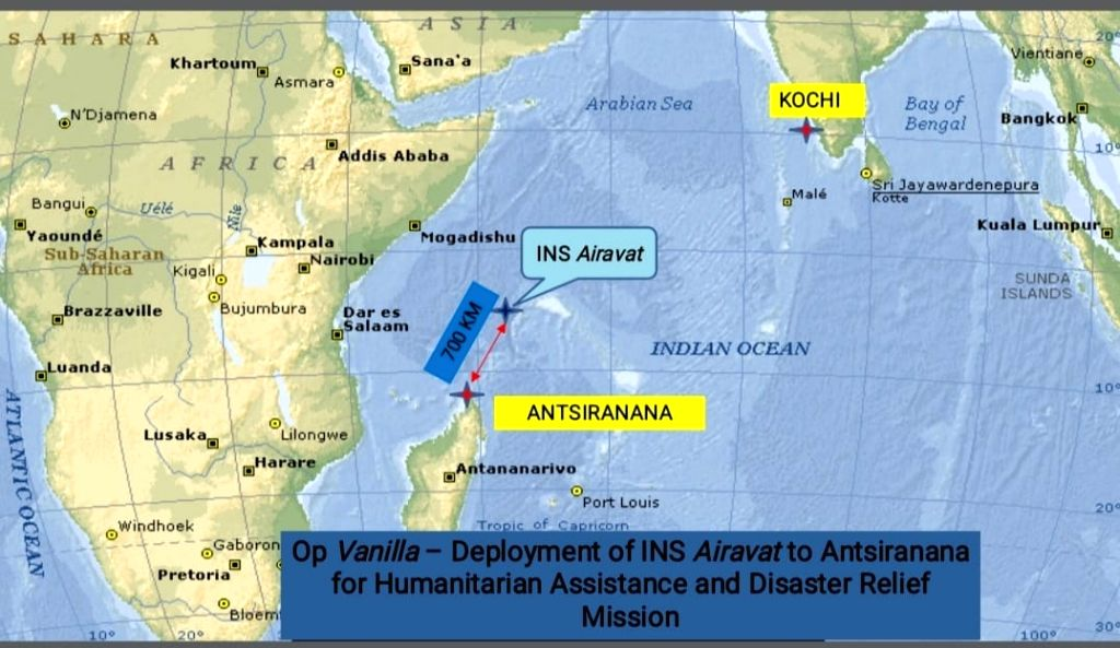 Indian Navy on humanitarian mission in Madagascar.