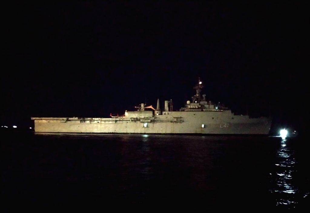 Indian Navy ship brings 698 stranded citizens from Maldives. (Photo: Sumit Kumar Singh IANS)
