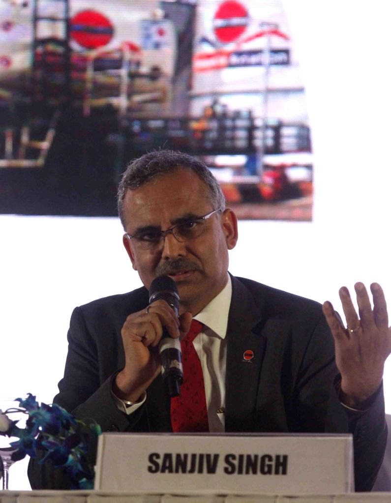 Indian Oil Chairman Sanjeev Singh addresses a press conference in New Delhi, on May 22, 2018. - Sanjeev Singh