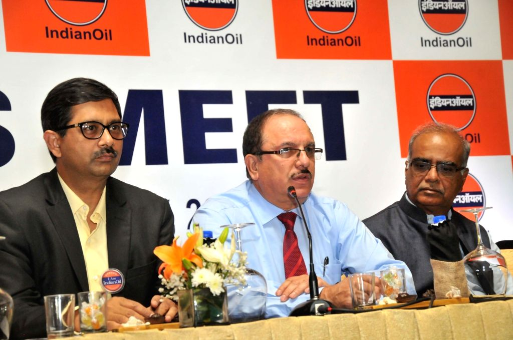 Indian Oil Corporation (IOC) Executive Director Rahul Bhardwaj and IOC Executive Director (Corporate Communications and Branding) Subodh Dakwale during a press conference, in Hyderabad on ... - Rahul Bhardwaj