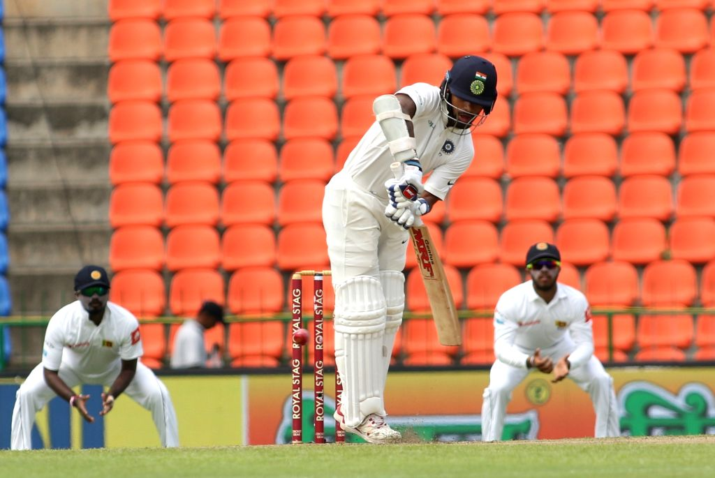 Indian opener Shikhar Dhawan in action on Day 1 of the third test match between India and Sri Lanka in Pallekele, Sri Lanka, on Aug. 12, 2017. - Shikhar Dhawan