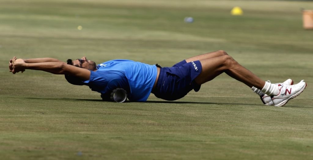 Indian pacer Ashish Nehra during practice session at the Rajiv Gandhi International Cricket Stadium, Hyderabad ahead of the 3rd T20 International match on October 12, 2017. - Ashish Nehra