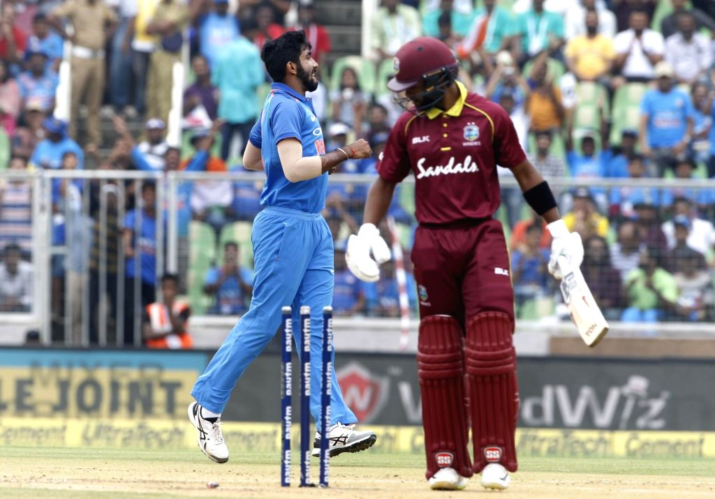 Indian pacer Jasprit Bumrah celebrates fall of wicket of West Indies batsman Shai Hope during the fifth and final One-Day International (ODI) match between India and West indies ... - Shai Hope