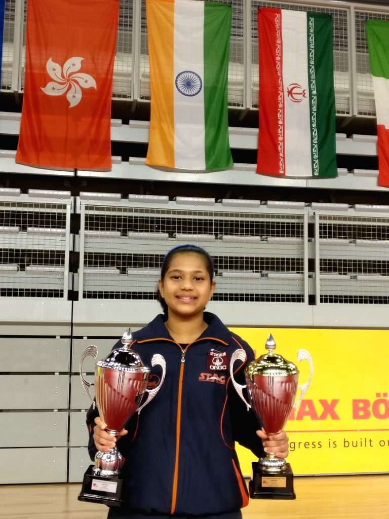 Indian paddler Diya Parag Chitale with the two trophies that she won at the Croatia Junior and Cadet Open respectively in Varazdin, Croatia on Sept 17, 2017.
