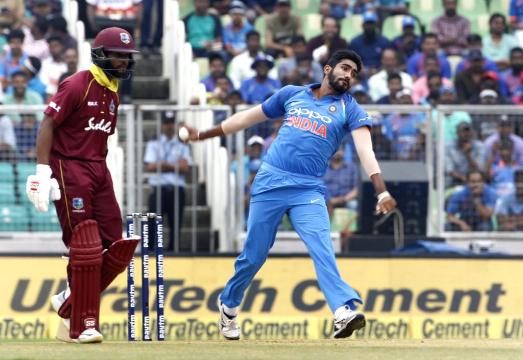 Indian player Jasprit Bumrah in action during the fifth and final One-Day International (ODI) match between India and West indies in Thiruvananthapuram on Nov. 1, 2018.