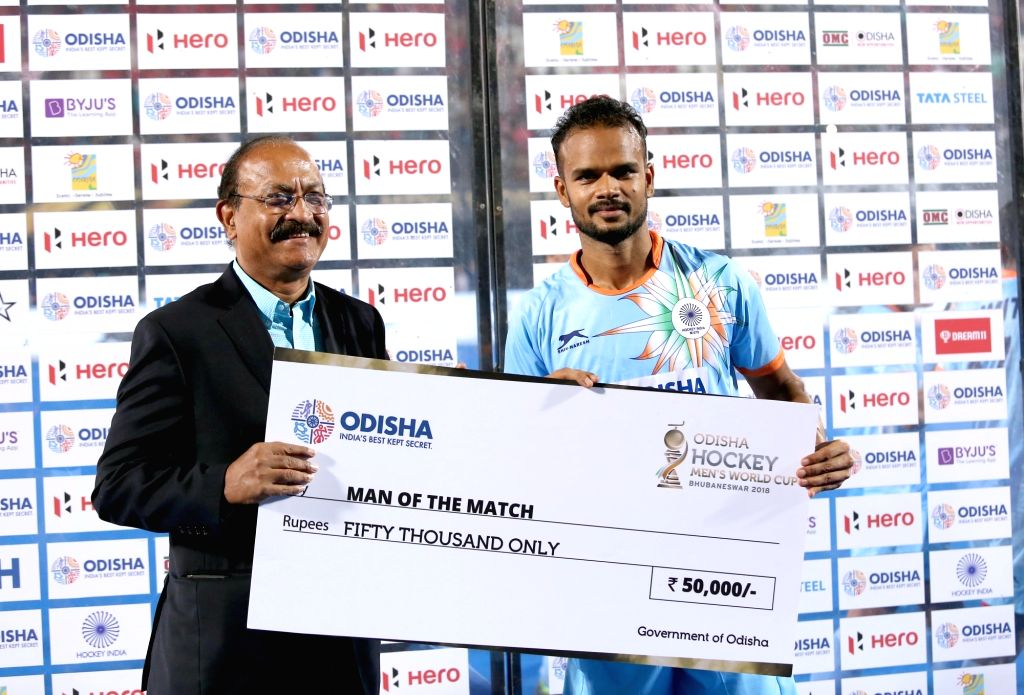 Indian player Lalit Upadhyay with the Man of the match award during a Men's Hockey World Cup 2018 between India and Canada at Kalinga Stadium in Bhubaneswar on Dec 8, 2018. India won the ... - Lalit Upadhyay