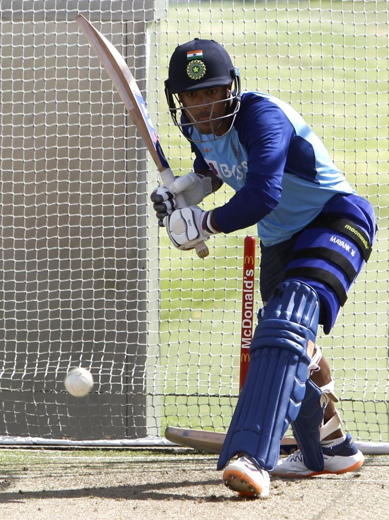 Indian player Mayank Agarwal during a practice session ahead of the 2nd ODI against New Zealand at Auckland in New Zealand on Feb 7, 2020.