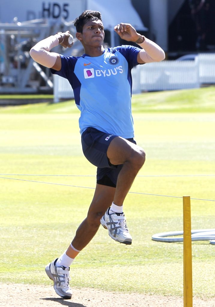 Indian player Navdeep Saini during a practice session ahead of the 2nd ODI against New Zealand at Auckland in New Zealand on Feb 7, 2020.