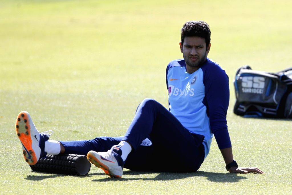 Indian player Shivam Dube during a practice session ahead of the 2nd ODI against New Zealand at Auckland in New Zealand on Feb 7, 2020.