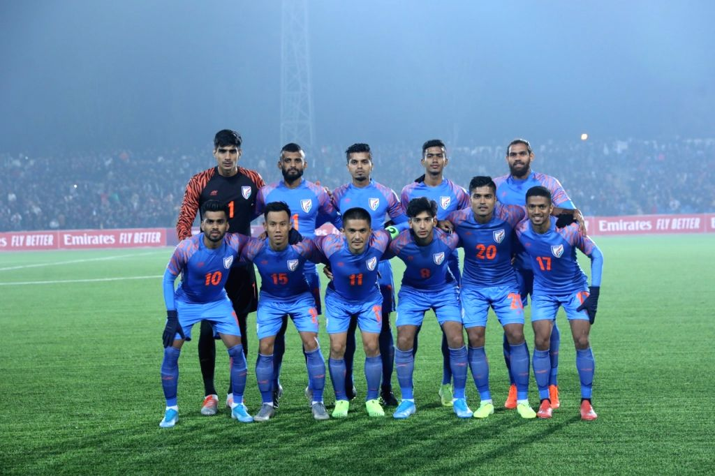 Indian players at Central Republic Stadium in Dushanbe, Tajikistan during FIFA World Cup Qualifier match on Nov 14, 2019.