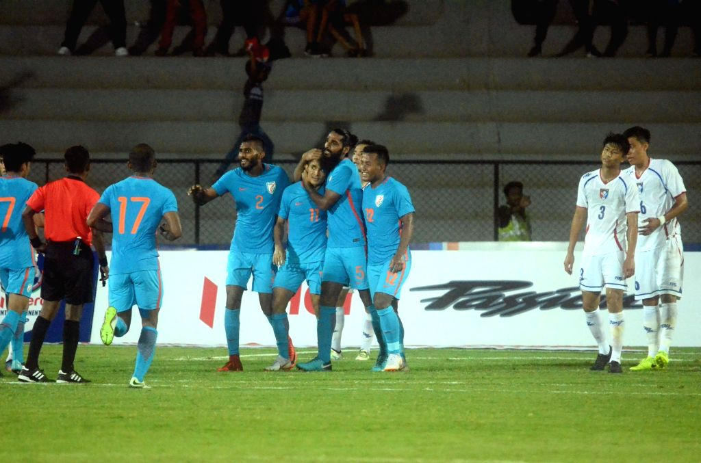 Indian players celebrate after scoring a goal during Intercontinental Cup match between India and Chinese Taipei at Andheri Sport Complex in Mumbai on June 1, 2018.