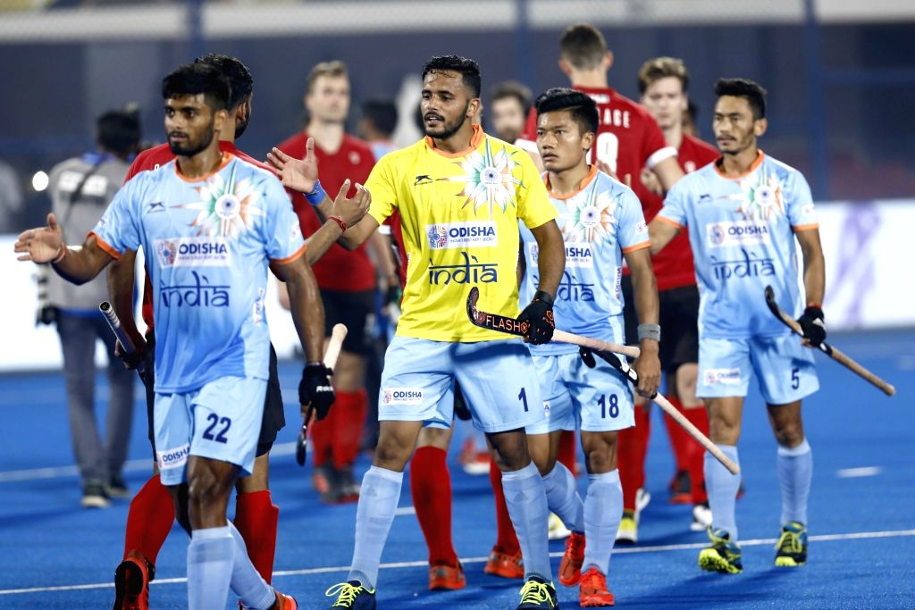Indian players celebrate after scoring a goal during a Men's Hockey World Cup 2018 between India and Canada at Kalinga Stadium in Bhubaneswar on Dec 8, 2018.