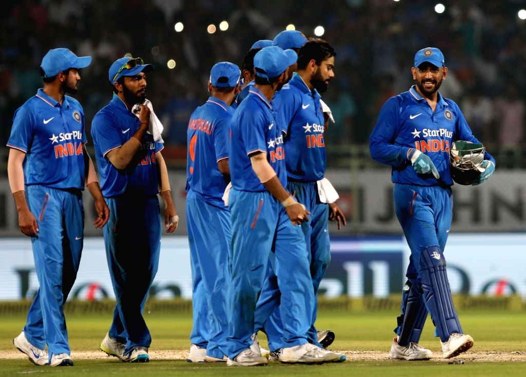 Indian players celebrate after winning the fifth ODI against New Zealand at Dr. Y.S. Rajasekhara Reddy ACA-VDCA Cricket Stadium in Visakhapatnam on Oct 29, 2016. India won the 5-match ...