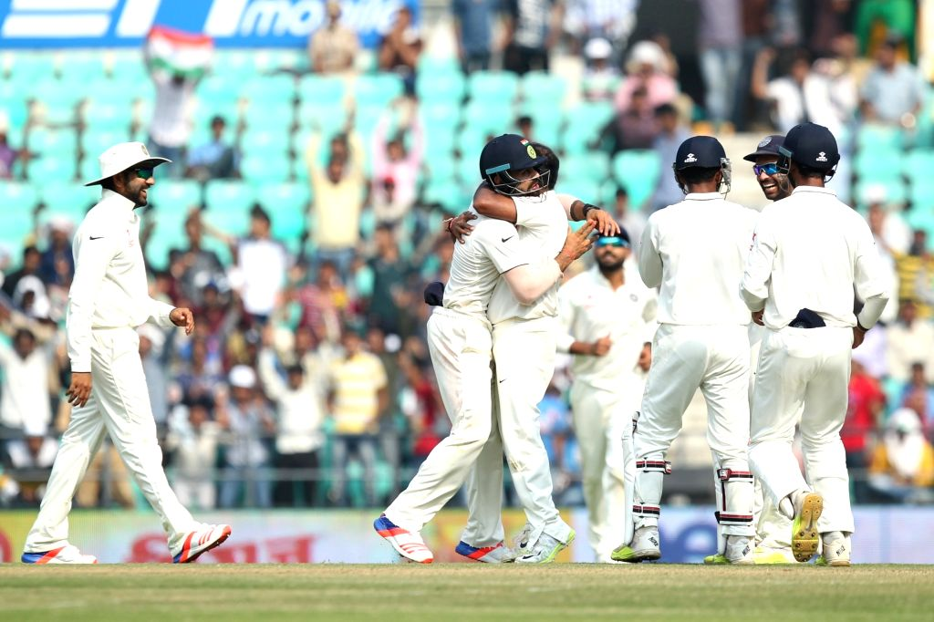 Indian players celebrate fall of a wicket during the Day-3 of the third test match between India and South Africa at Vidarbha Cricket Association Stadium in Nagpur  on Nov 27, 2015.