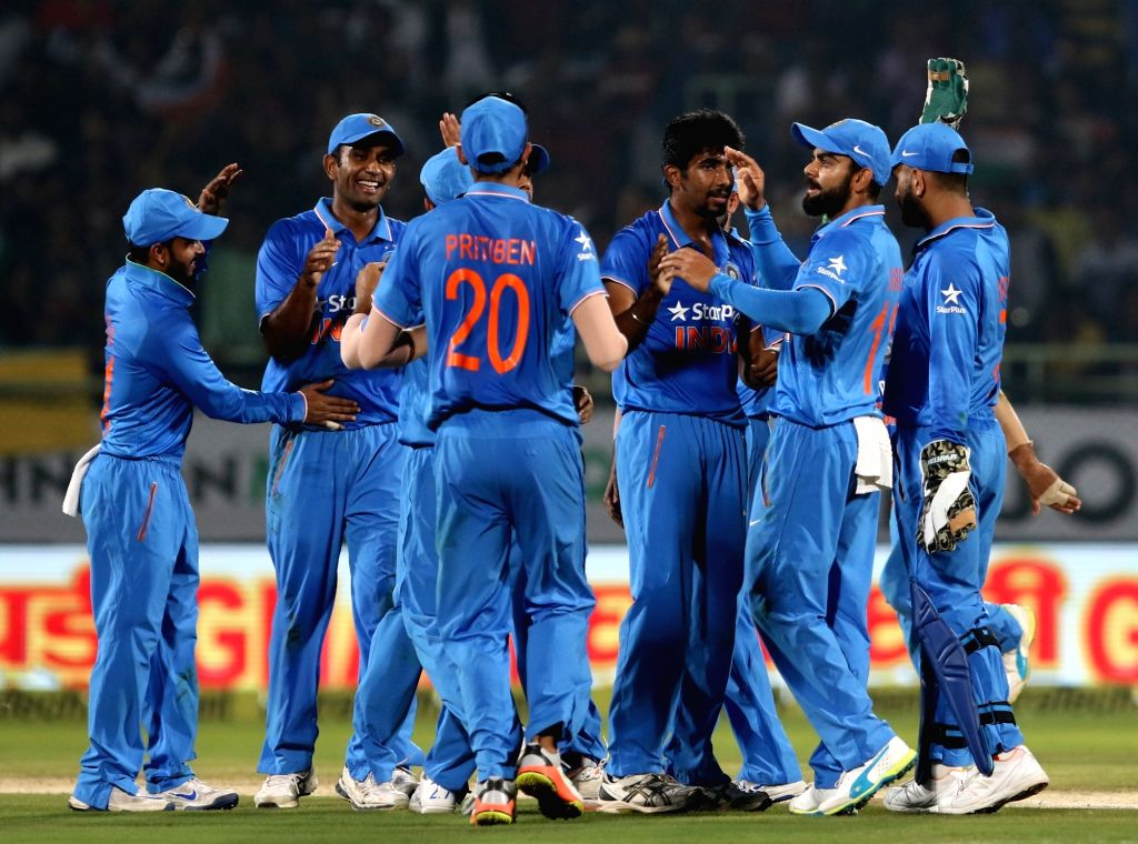 Indian players celebrate fall of a wicket during the fifth ODI match between India and New Zealand at Dr. Y.S. Rajasekhara Reddy ACA-VDCA Cricket Stadium in Visakhapatnam on Oct 29, ...